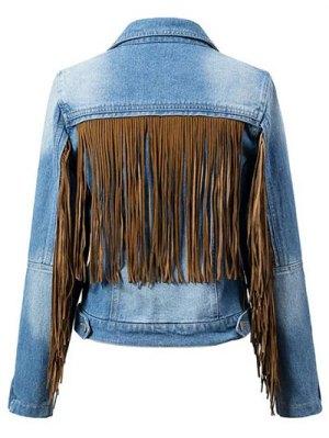 Tassels Spliced Shirt Collar Denim Jacket - Blue