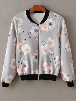 Floral Print Stand Neck Jacket - Gray