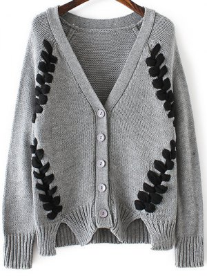 Twist Braided V Neck Long Sleeve Cardigan - Gray
