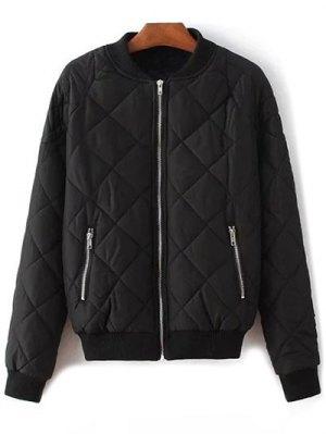 Argyle Stand Neck Solid Color Jacket - Black