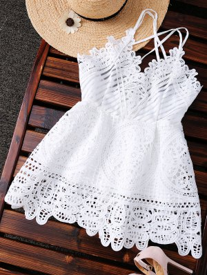 Peplum Camisole Crochet Top - White