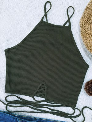 Spaghetti Straps Strappy Tank Top - Blackish Green