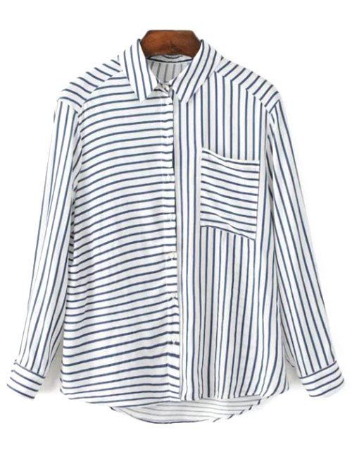 Shirt Collar Long Sleeve Pocket Striped Shirt