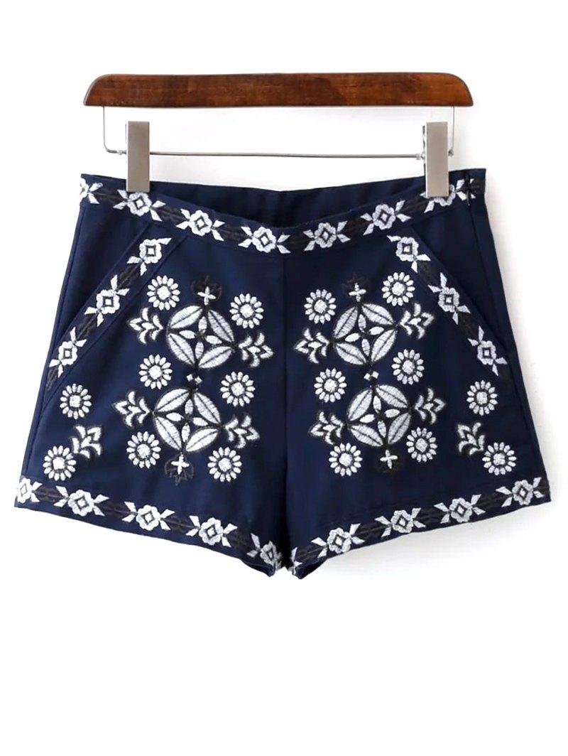 Pockets Retro Embroidery Shorts