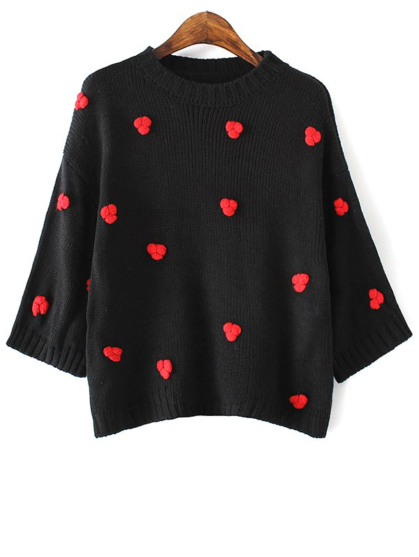 Round Neck Batwing Sleeve Applique Sweater