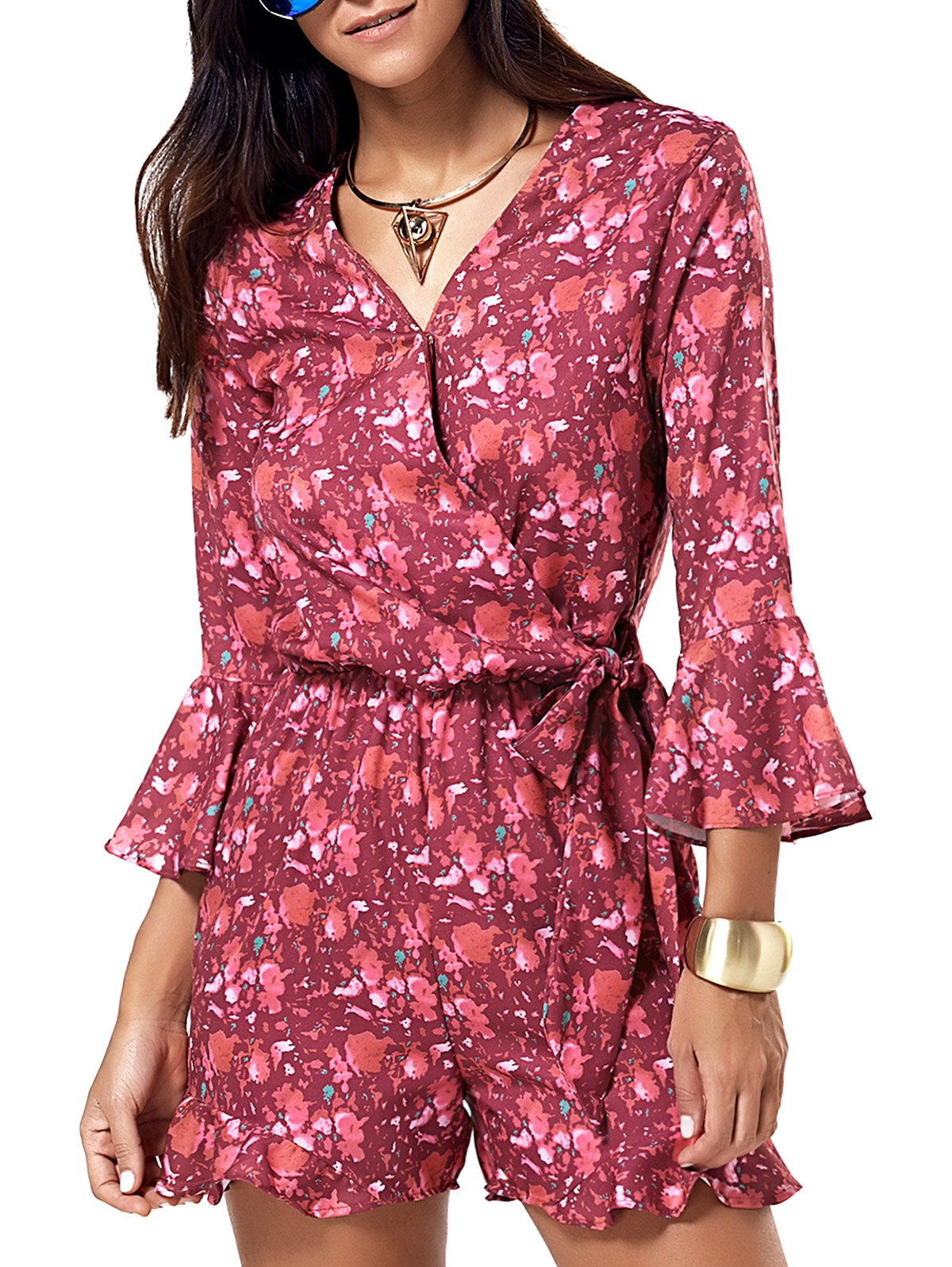 V-Neck Flare Sleeve Crossed Print Romper