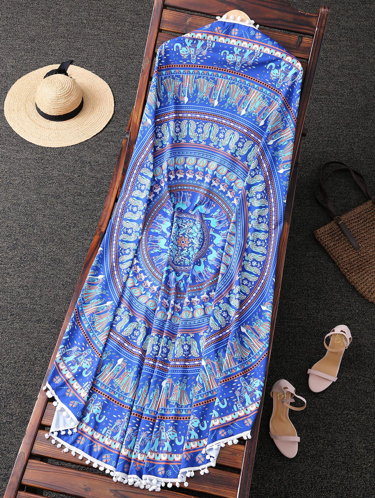 Ethnic Print Round Beach Throw