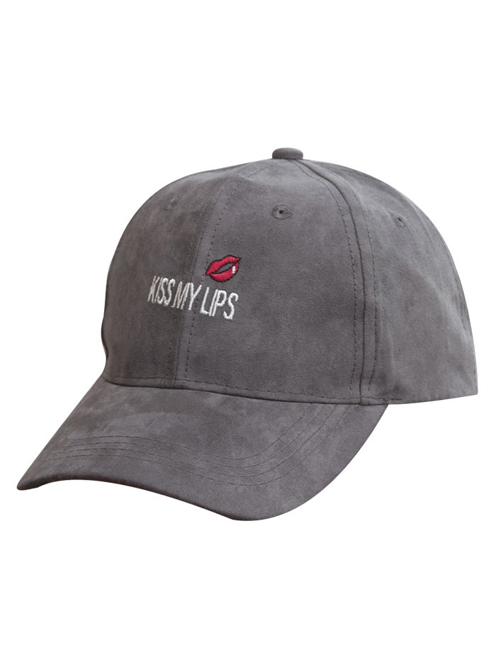 Red Lip Faux Suede Baseball Hat