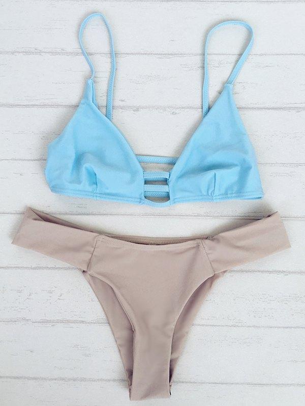 Bicolor Spaghetti Strap Bikini Set