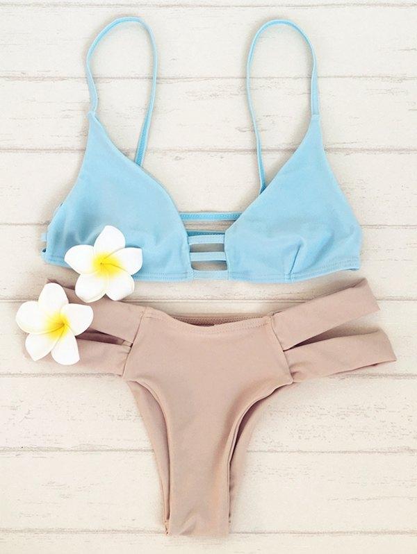Bicolor Double Strap Bikini Set