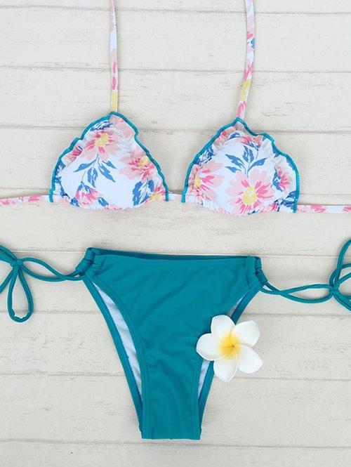 Stringy Floral Print Bikini Set
