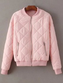 Argyle Stand Neck Solid Color Jacket - Pink M
