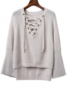 Lace Up V Neck Long Sleeve Sweater - Light Gray