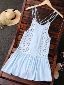 Embroidered Crisscross Strap Dress