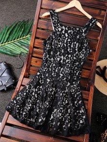 فستان السهرة الياقة المربع - أسود M