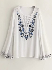 Buy Lace Plunging Neck Flare Sleeve Embroidery Blouse - WHITE L