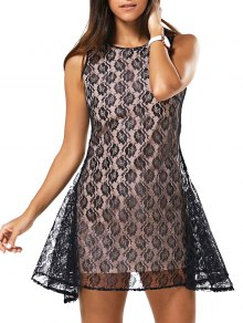 Full Lace Round Neck Sleeveless Dress - Black M