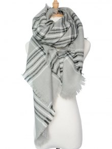 Plaid Pattern Shawl Scarf - Gray