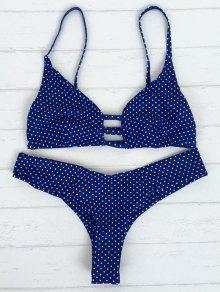 Polka Dot Strappy Bikini Set - Blue