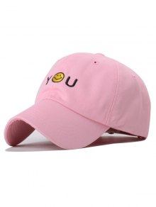 Smiley Embroidery Baseball Hat - Pink
