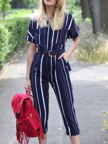 Striped Round Neck Short Sleeve Jumpsuit - Stripe