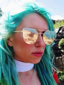 Golden Metal Bar Frame Aviator Sunglasses - Golden
