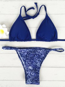 V-String Bikini Set - Blue S
