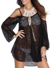 Hollow Cami Off The Shoulder Cover Up Dress - Black