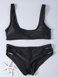 Hollow Out Solid Color Bikini Set - Black