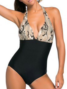 Halter One Piece Camo Swimsuits