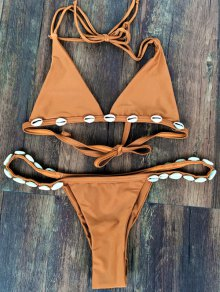 Solid Color With Shell Halter Bikini Set - Wheat M