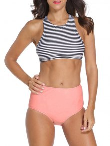 Striped High Neck High Waisted Tankini