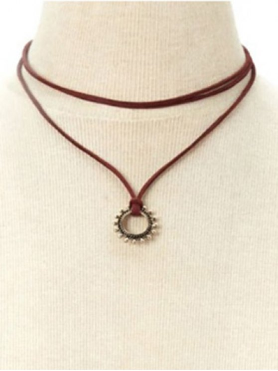 Sun Layered Necklace - DEEP RED  Mobile