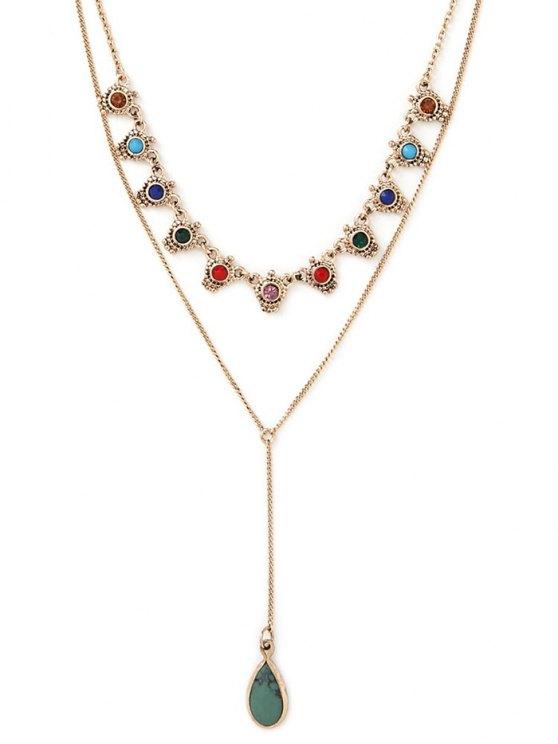 Fake Gem Layered Necklace - GOLDEN  Mobile