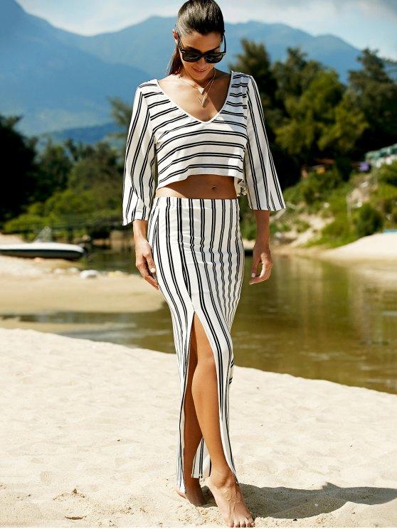 Striped V-Neck T-Shirt and High Slit Skirt Twinset - WHITE L Mobile