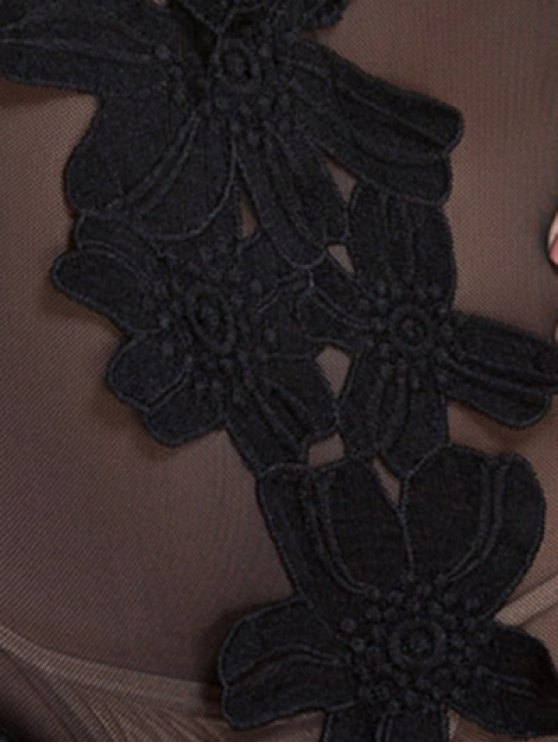 Patch Design U Neck See-Through Sleepwear - BLACK L Mobile