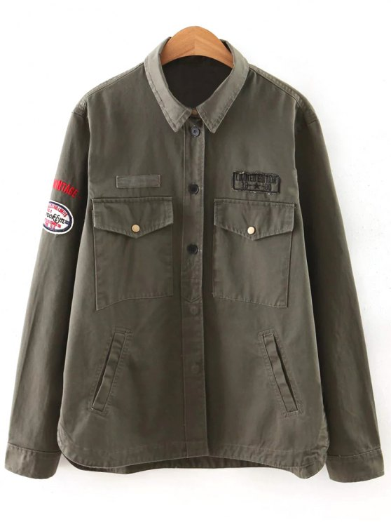 outfit Letter Print Epaulet Shirt Neck Pockets Jacket - ARMY GREEN M
