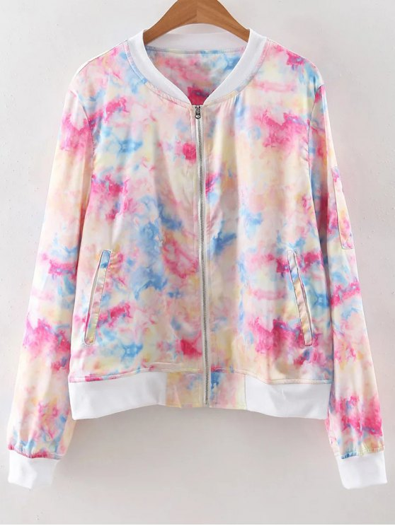 Stand Neck Long Sleeve Tie-Dyed Jacket - COLORMIX M Mobile