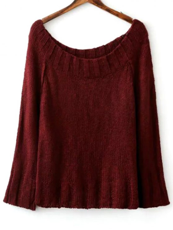 Solid Color Scoop Neck Long Sleeve Sweater - WINE RED ONE SIZE Mobile