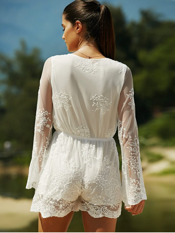 Full Lace Plunging Neck Long Sleeve Romper - WHITE M Mobile