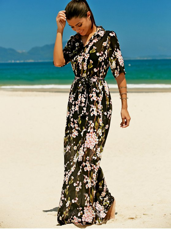 Floral Buttoned Maxi Holiday Shirt Dress - BLACK L Mobile