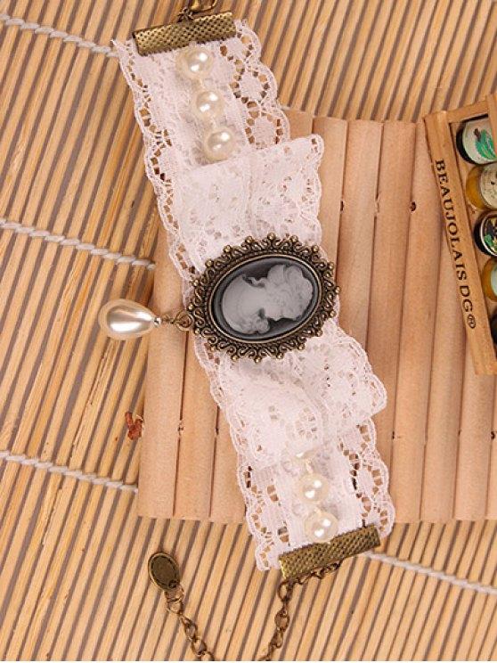 Lace Faux Pearl Cameo Bracelet -   Mobile