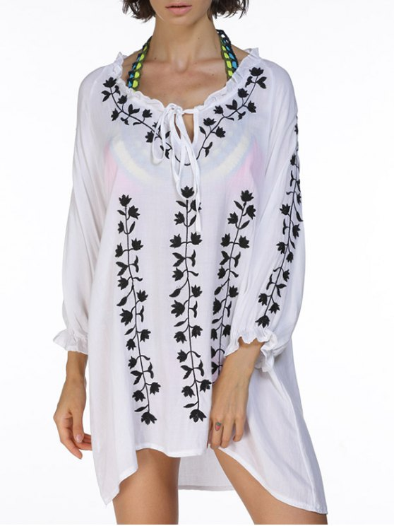 chic Floral Embroidery Ruffles Cover Up Dress - WHITE ONE SIZE