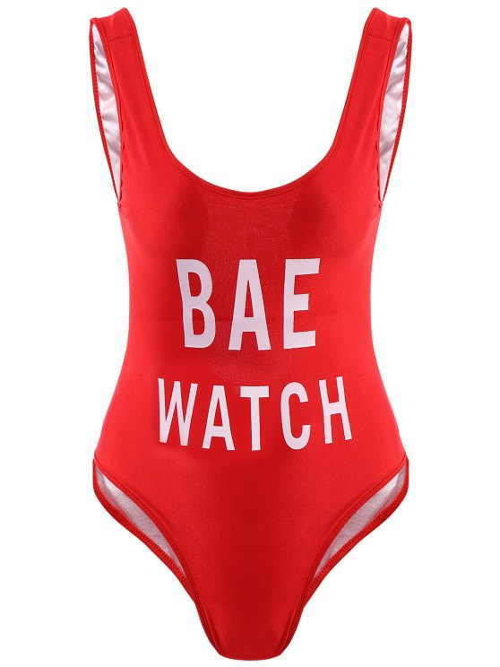 Letter Print One-Piece Swimwear - RED S Mobile