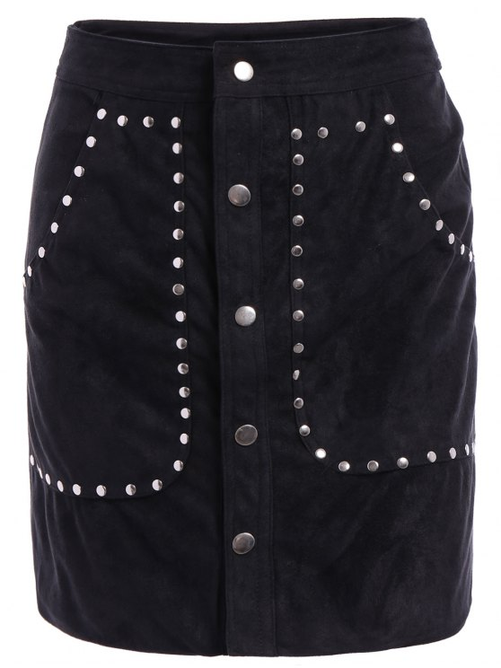 ladies Rivet Packet Buttocks Suede Skirt - BLACK L