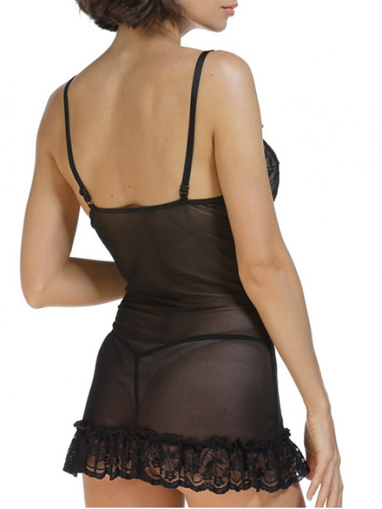 Lace Splice Cami Bowknot Babydoll - BLACK S Mobile