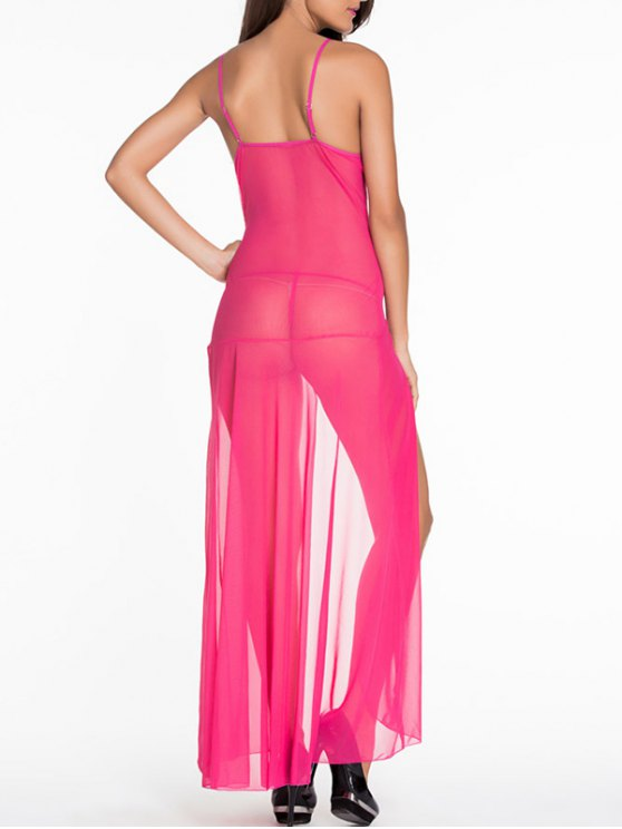 Lace Splice Cami High Slit Maxi Dress - ROSE RED XL Mobile
