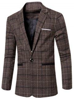 Vintage Notched Lapel Collar Single Button Slim Fit Striped Blazer For Men - Coffee Xl