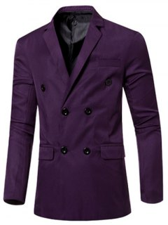 Casual Lapel Collar Double Breasted Flap-Pocket Design Blazer For Men - Purple M
