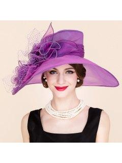 Stylish Handmade Flower Mesh Design Wedding Banquet Party Purple Church Hat - Purple